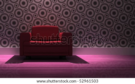 detailed 3d rendering modern armchair in living room - stock photo