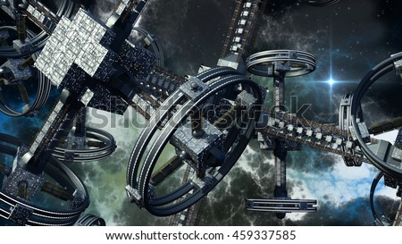 Detailed 3D rendering of technologically advanced spaceship for war games, futuristic space travel and science fiction backgrounds  - stock photo