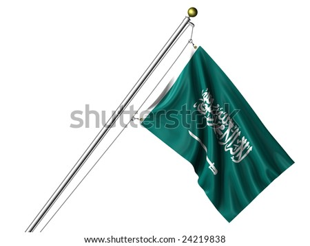 Detailed 3d rendering of the flag of Saudi Arabia hanging on a flag pole isolated on a white background.  Flag has a fabric texture and a clipping path is included. - stock photo