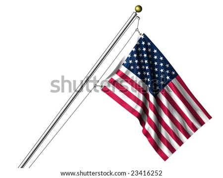 Detailed 3d rendering of the flag of the United States of America hanging on a flag pole isolated on a white background.  Flag has a fabric texture - stock photo