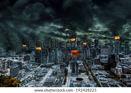 Detailed destruction of fictitious city with fires, explosion, sinkholes, train derailment. Symbolic of war, natural disasters, judgement day, fire, nuclear accident, terrorism, or meteorite fallout. - stock photo