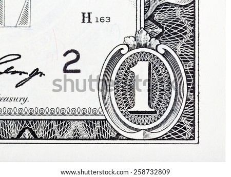 Detailed element based on a one dollar bill. - stock photo