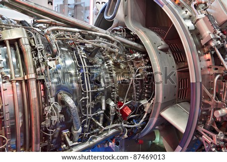 Detailed exposure of a turbo jet engine - stock photo