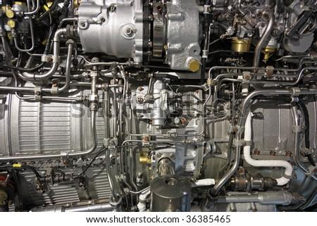 Detailed exposure of a turbo jet engine. Technogenic background. - stock photo