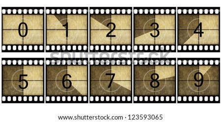 Detailed film countdown numbers - stock photo