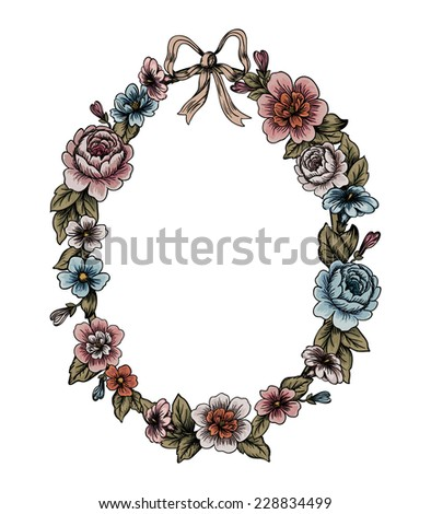 Detailed flowers and roses frame with a bow - stock photo