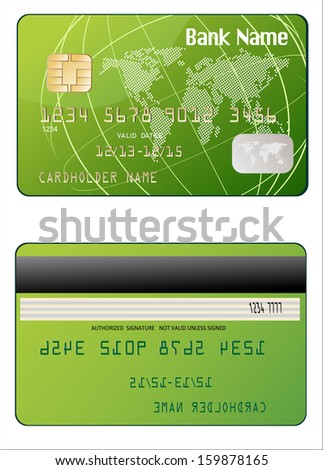 Detailed glossy credit card isolated on white background - stock photo