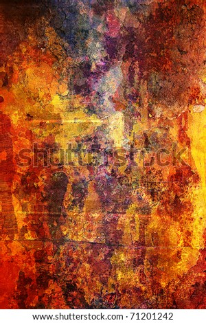 Detailed grunge background in red, orange, brown and yellow colors. - stock photo