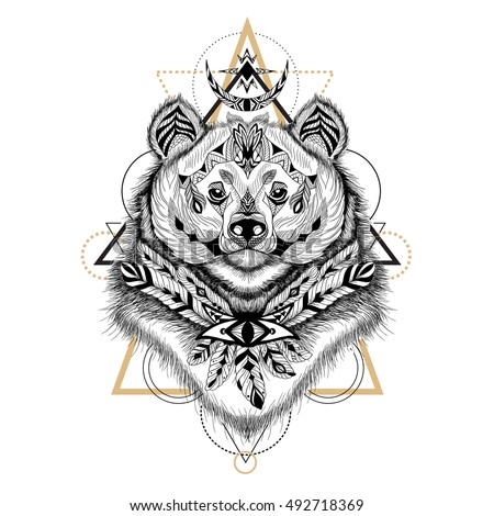 Detailed Himalayan Bear in aztec style. Raster.