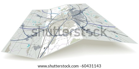 Detailed illustrated folding map with no names - stock photo
