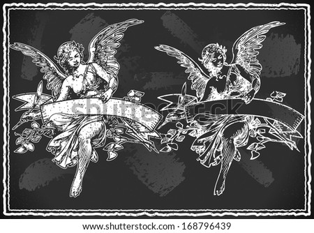 Detailed illustration of a Angel with Holding a Banner on Vintage BlackBoard - stock photo