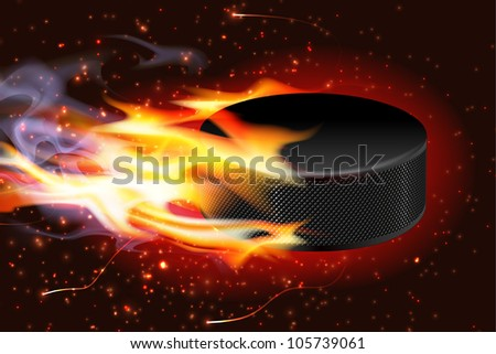 Detailed illustration of a hockey puck flying through the air on fire.