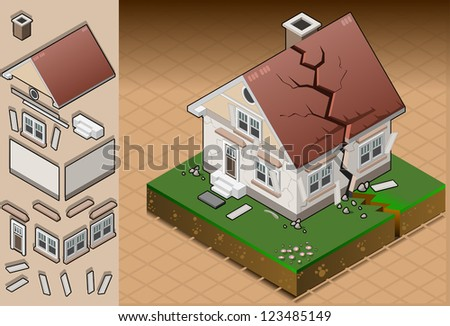 Detailed illustration of a house hit by earthquake. - stock photo