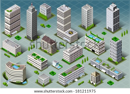 Detailed illustration of a Isometric Buildings  - stock photo