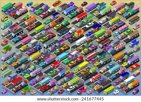 Detailed illustration of a Isometric Cars, Buses, Trucks, Vans, Mega Collection All In - stock photo