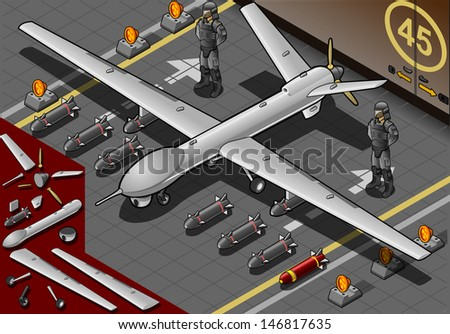Detailed illustration of a Isometric Drone Airplane Landed in Front View with Bombs and Guards  - stock photo