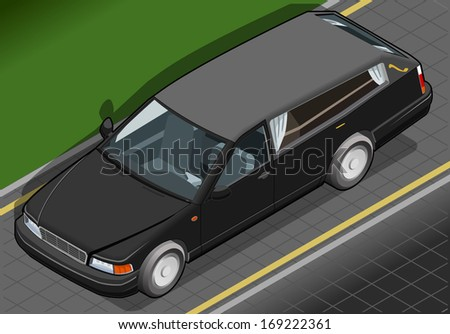Detailed illustration of a Isometric Hearse in Front View - stock photo