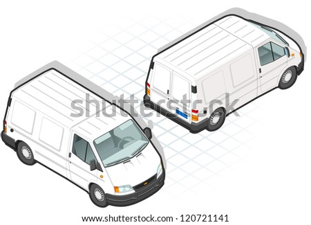 detailed illustration of a isometric white van in two position - stock photo