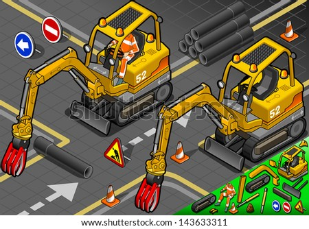 detailed illustration of a Isometric Worker Piloting Mini Mechanical Arm Excavator in Front View - stock photo