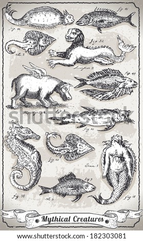 Detailed Illustration of a Vintage Set of Mythical Creatures  - stock photo