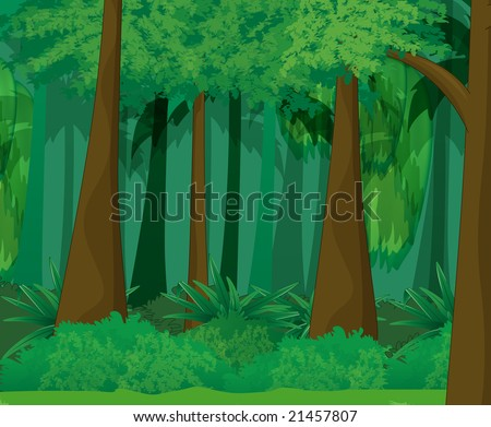 Cartoon Jungle Scene Jungle scene - stock photo