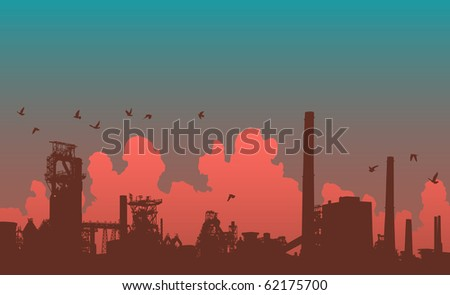 Detailed illustration of an industrial skyline