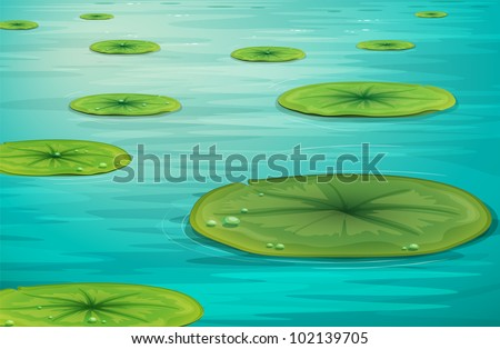 Detailed illustration of calm pond scene - EPS VECTOR format also available in my portfolio. - stock photo