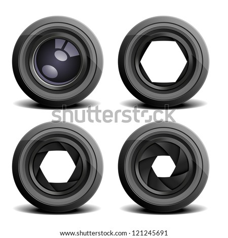 detailed illustration of camera lenses - stock photo