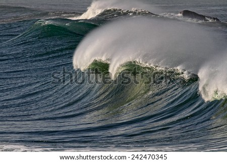 Detailed image of a large breaking wave. North of Portugal. - stock photo