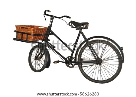 Detailed image of a vintage (1940s/50s) baker's bicycle, isolated on a pure white background