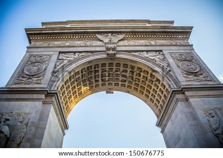 Detailed image of the Washington Square Park Arch in New York City - stock photo