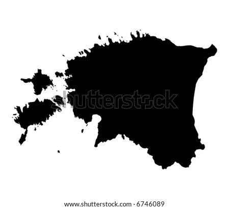 Detailed isolated map of Estonia, black and white. Mercator Projection.