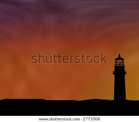 Detailed Lighthouse silhouette against a colorful waning evening sky