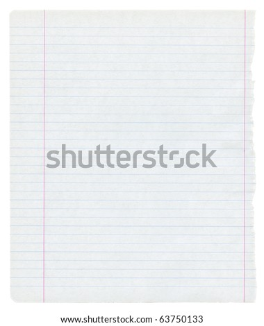detailed lined paper texture, isolated - stock photo