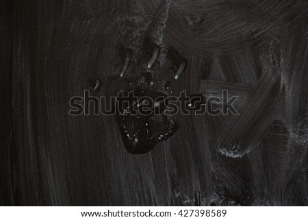 detailed macro shot of some dirty blackboard with print of a hand - stock photo