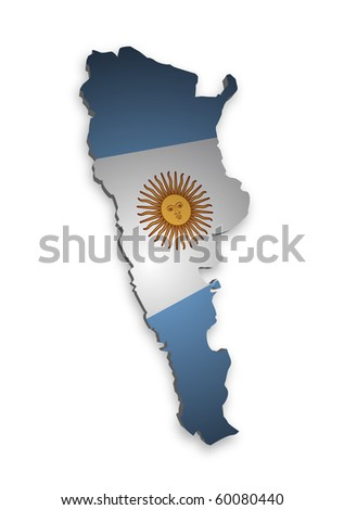 detailed map of argentina - stock photo