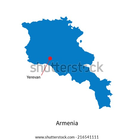 Detailed map of Armenia and capital city Yerevan - stock photo