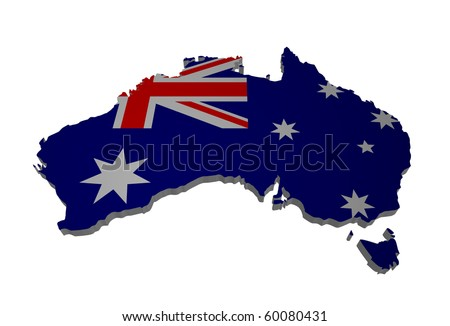 detailed map of australia - stock photo