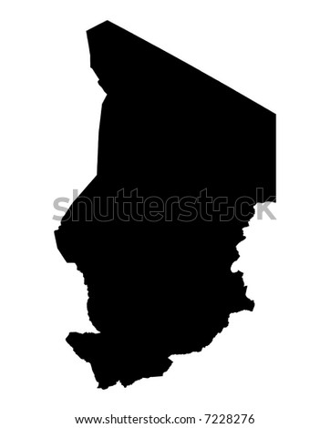 Detailed map of Chad, black and white. Mercator Projection.