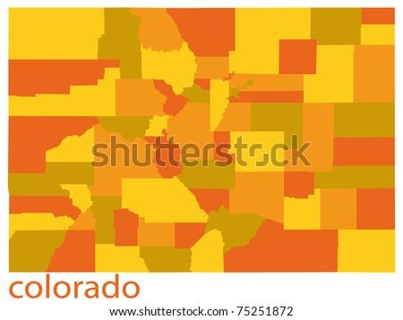Detailed Vector Map Colorado State Usa Stock Vector - Colorado map usa