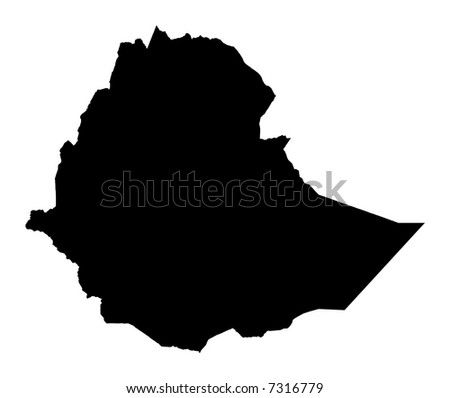 Detailed map of Ethiopia, black and white. Mercator Projection. - stock photo