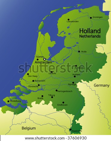 detailed  map of holland / netherlands