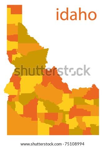 detailed map of idaho state, usa - stock photo