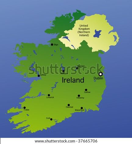 detailed  map of ireland - stock photo