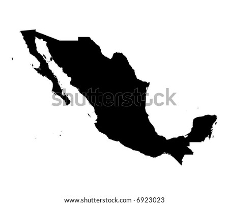 Detailed map of Mexico, black and white. Mercator Projection.