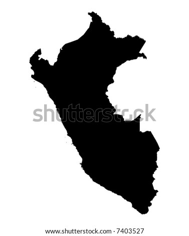 Detailed map of Peru, black and white. Mercator Projection. - stock photo