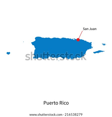 Detailed map of Puerto Rico and capital city San Juan - stock photo