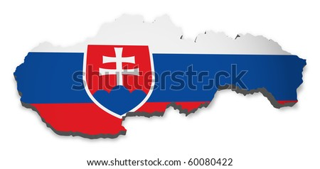 detailed map of slovakia - stock photo