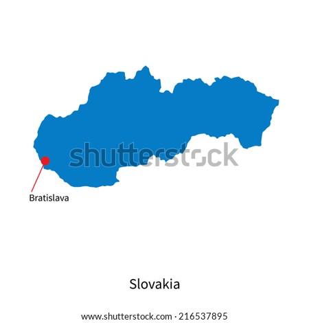 Detailed map of Slovakia and capital city Bratislava - stock photo