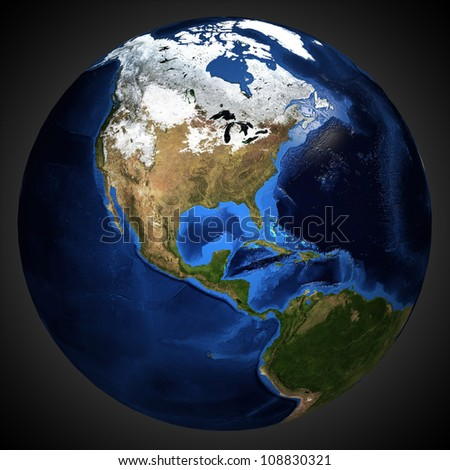 Detailed map of the Earth's surface. - stock photo